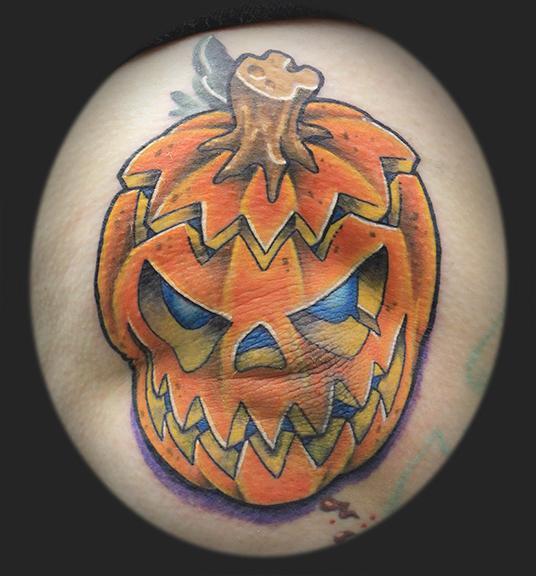 Spooky pumpkin by james rowe tattoonow for Tattoos of pumpkins
