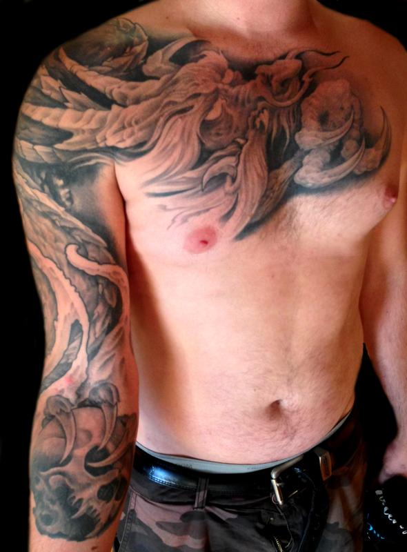 Tattoos by audi tattoos body part chest tattoos for for Black and grey chest tattoos