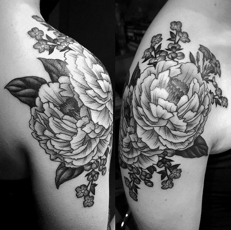 black and grey peony shoulder tattoo by audi tattoonow. Black Bedroom Furniture Sets. Home Design Ideas