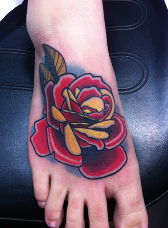 Neo-traditional Rose Tattoo by Chris Rogers: TattooNOW