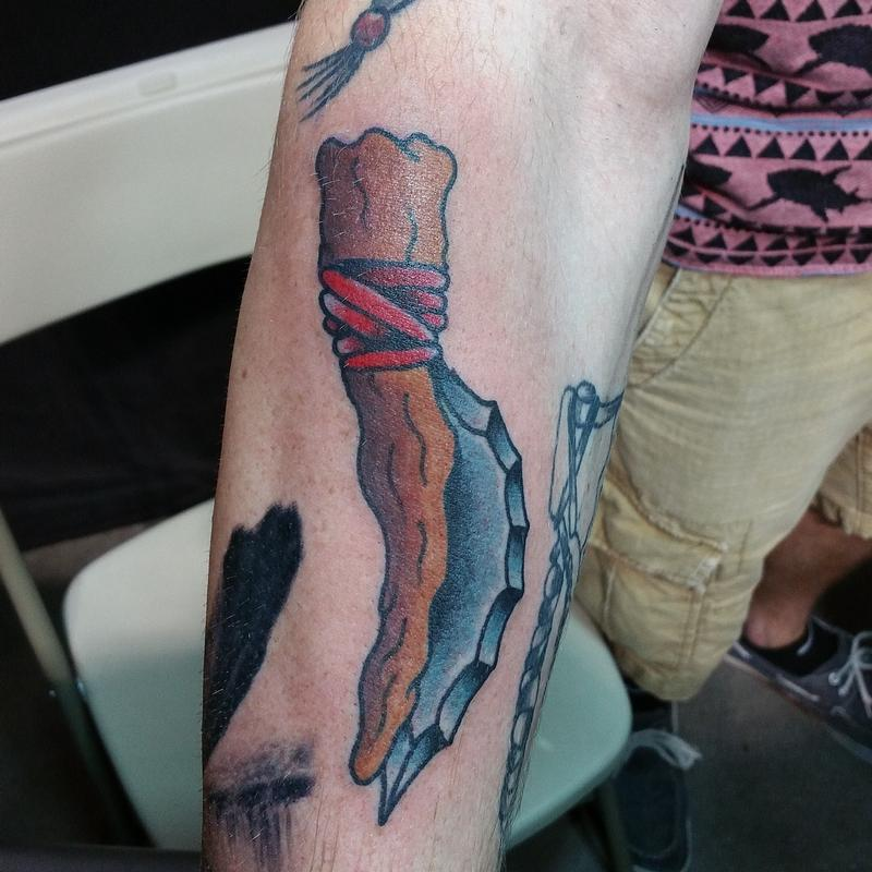 Indian knive by cody hennings tattoos for Texas bobs tattoos