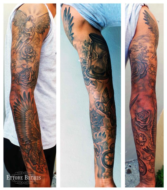 Fullsleeve by ettore bechis tattoonow for Full sleeve tattoo clouds