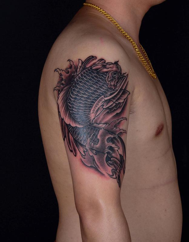Gao tattoo tattoos body part shoulder black and grey for Koi fish tattoo black and grey