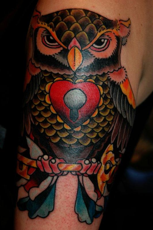 traditional style owl tattoo by james dean tattoonow. Black Bedroom Furniture Sets. Home Design Ideas