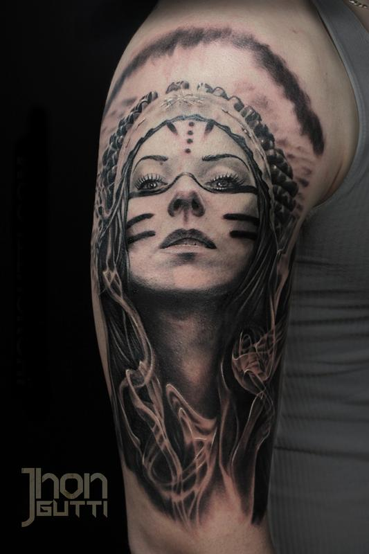 Jhon gutti tattoos body part shoulder indian girl for Indian woman tattoo