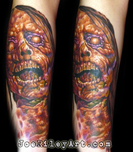 Evil zombie tattoo by joe riley tattoonow for Las vegas tattoo artists