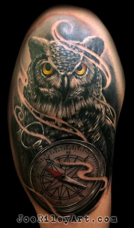 Owl tattoo by joe riley tattoonow for Las vegas tattoo artists