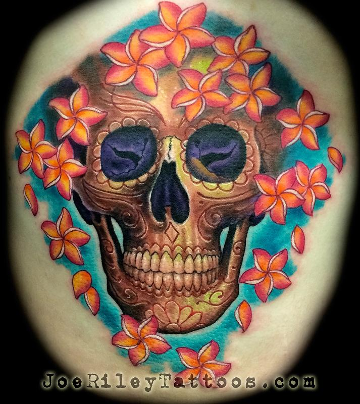 skull and flowers tattoo by joe riley tattoonow. Black Bedroom Furniture Sets. Home Design Ideas