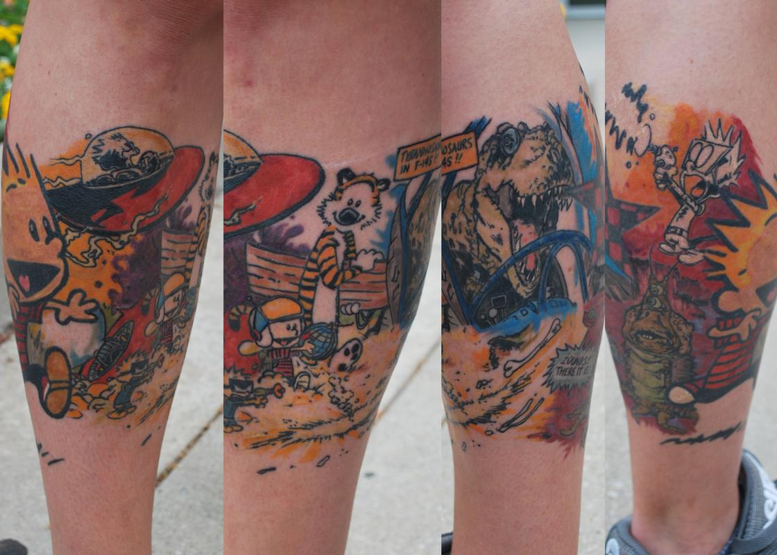 Calvin and hobbes leg wrap around by justin mccarty for Wrap around leg tattoos