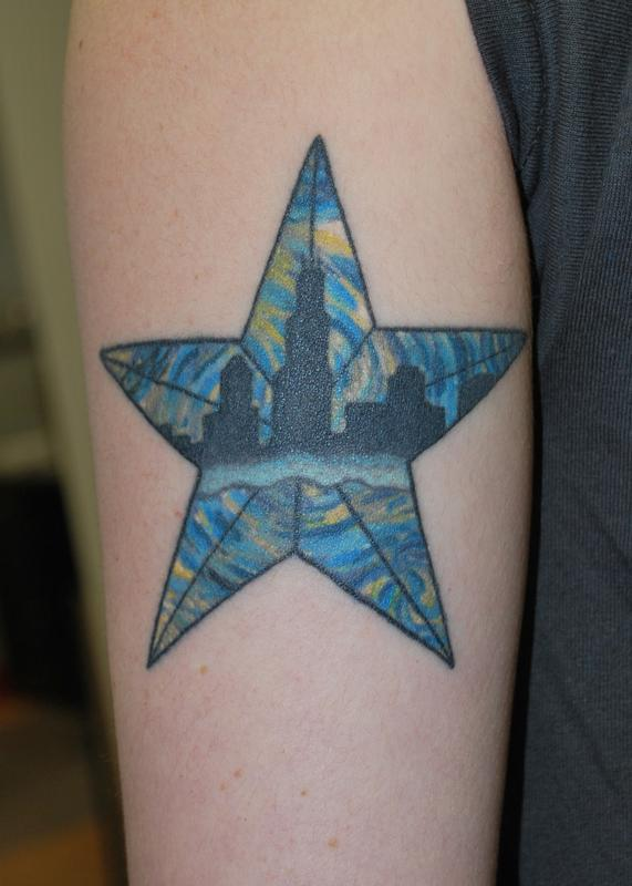 Chicago starry night by justin mccarty tattoonow for Tattoo shops in champaign il
