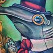 Dapper hammerhead shark Tattoo Design Thumbnail