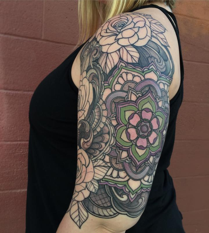 da24f7d97dd73 Roses with mandala half sleeve in progress by Laura Jade: TattooNOW :