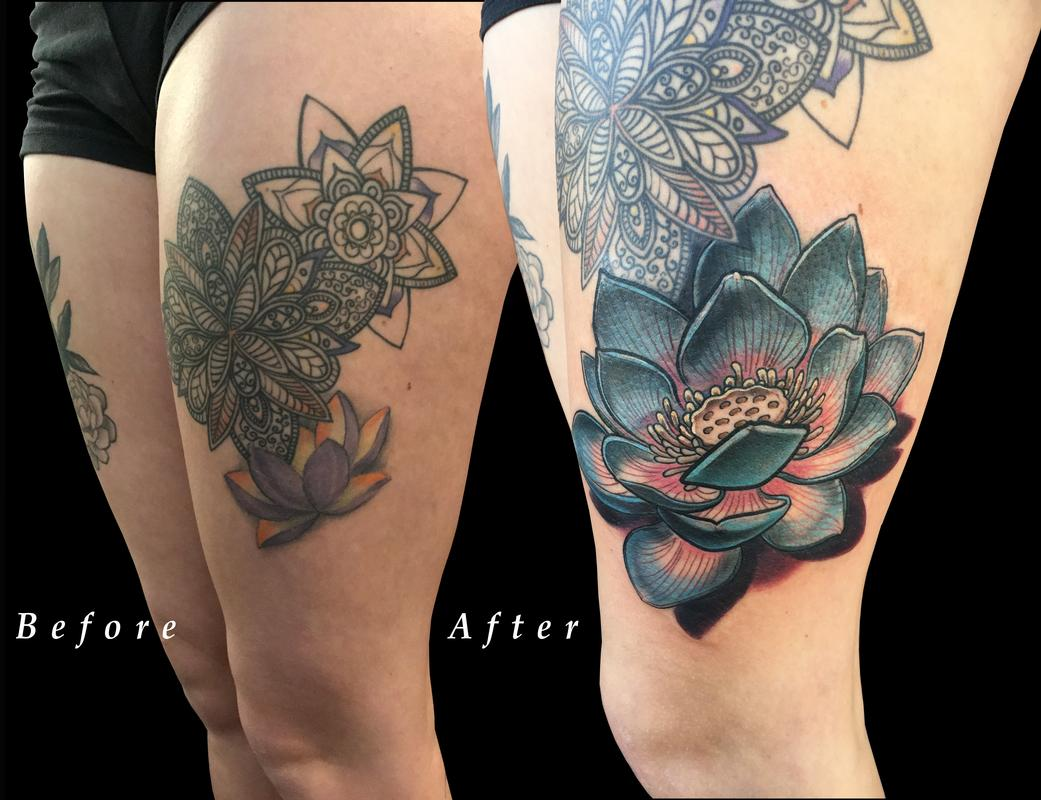 Paradise tattoo gathering tattoos nature lotus flower thigh nicole laabs lotus flower thigh color coverup izmirmasajfo