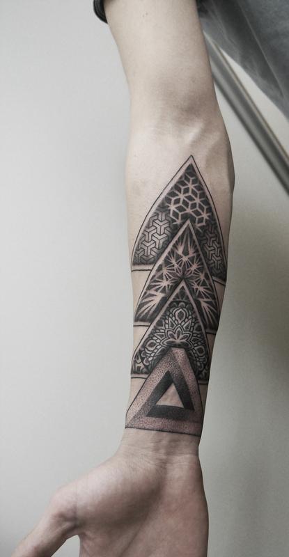 dotwork geometric forearm tattoo by obi tattoonow. Black Bedroom Furniture Sets. Home Design Ideas