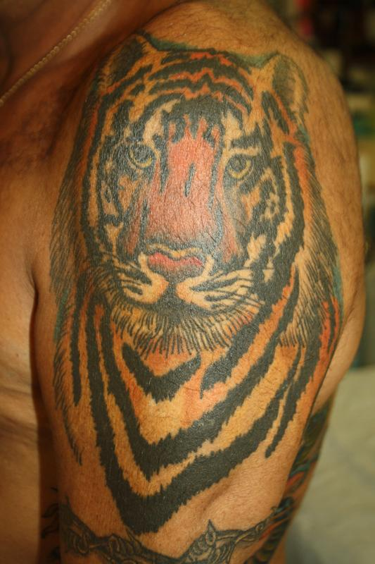 Traditional tiger tattoo by rebecca smith for Tattoo shops in san marcos tx