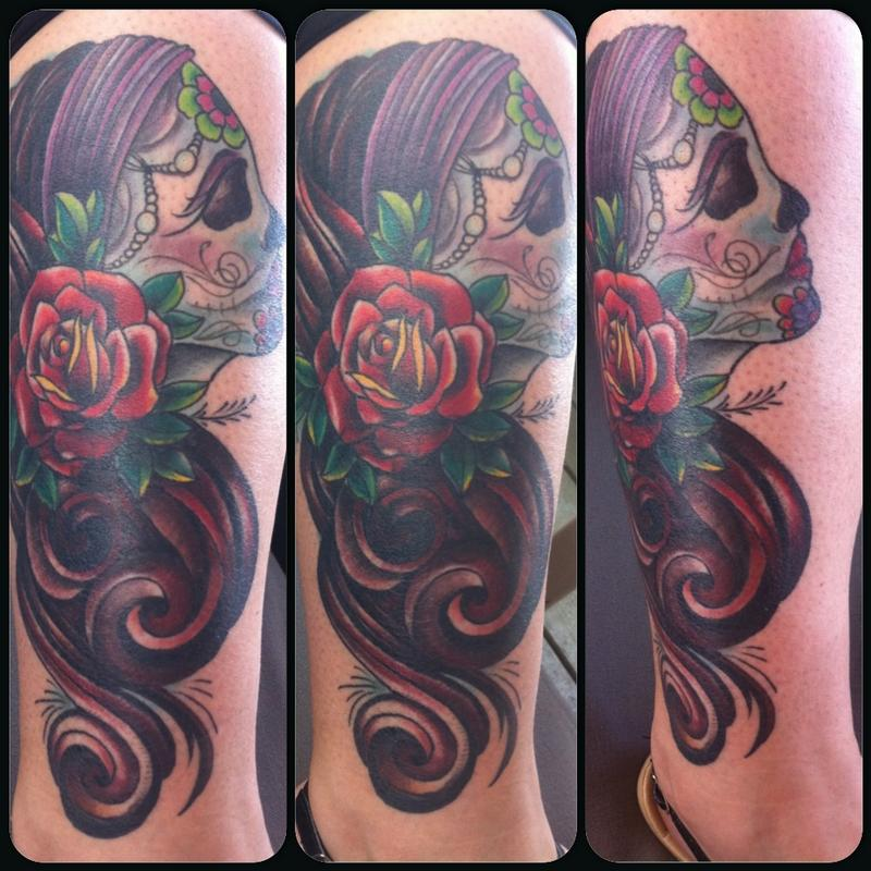 Day of the dead cover up of large om by rebecca smith for Old school day of the dead tattoo