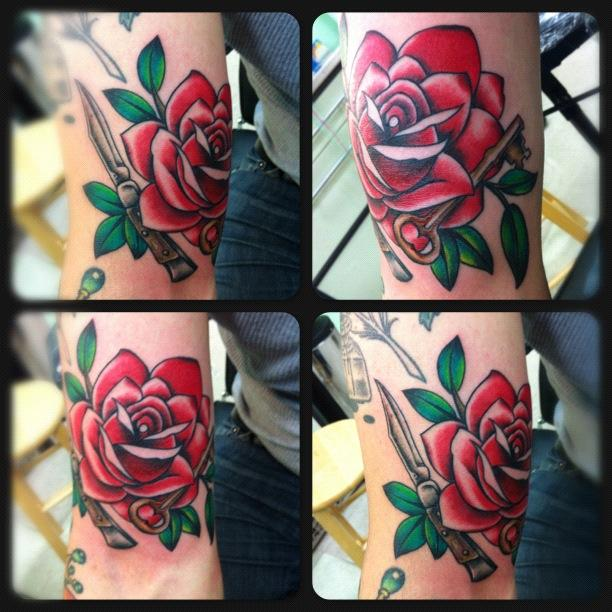 Neo traditional rose with key and blade by rebecca smith for Neo traditional rose tattoo