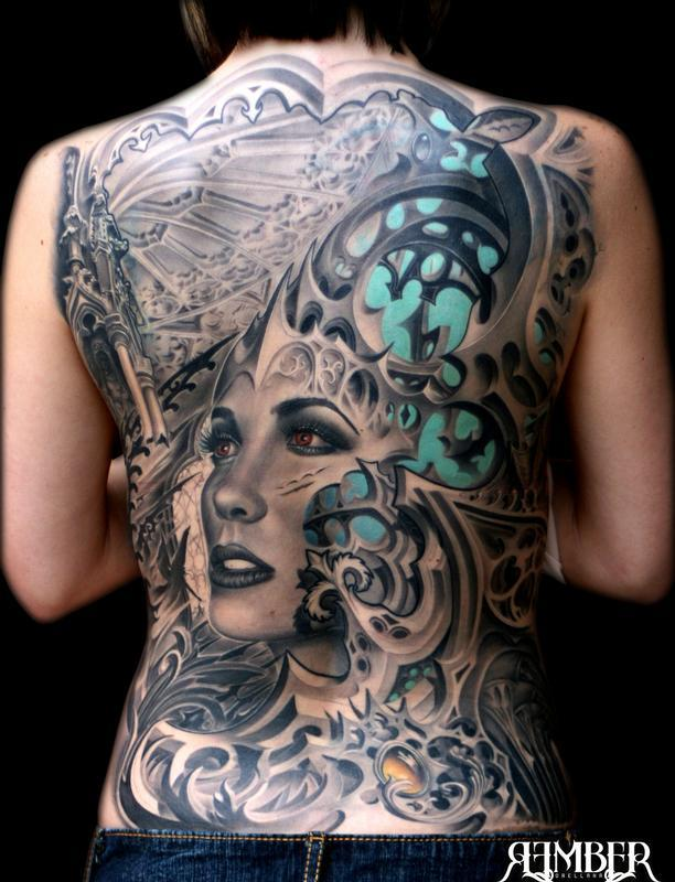 Gothic back by rember tattoos for Gothic city tattoos