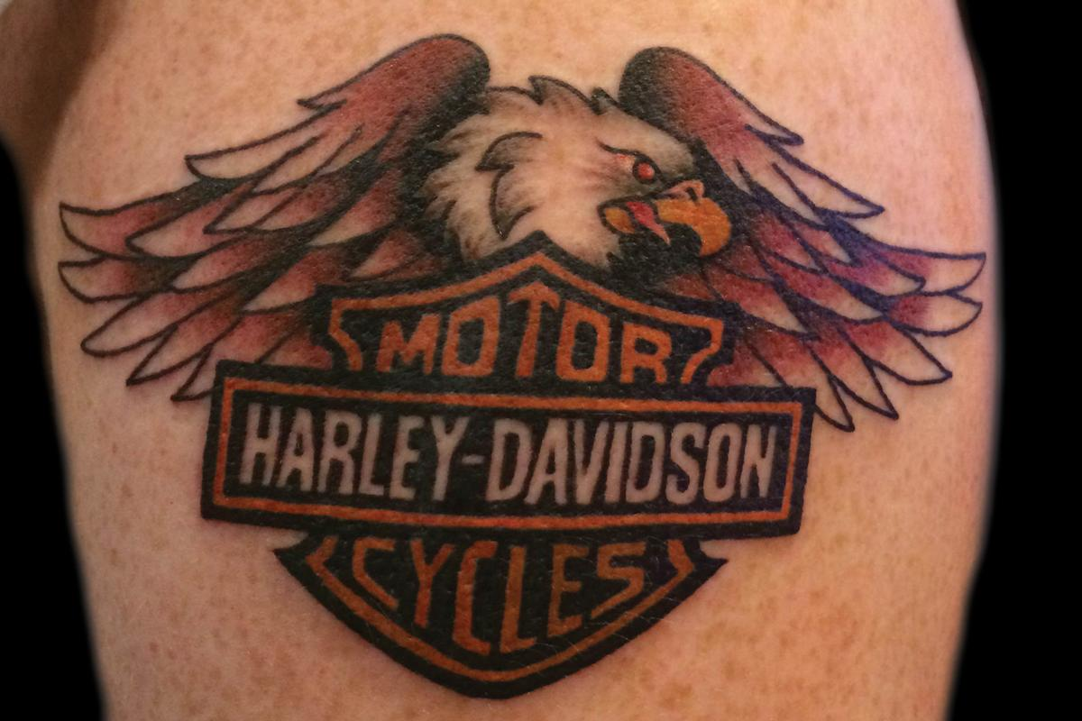 Harley davidson eagle tattoo for Traditional motorcycle tattoo