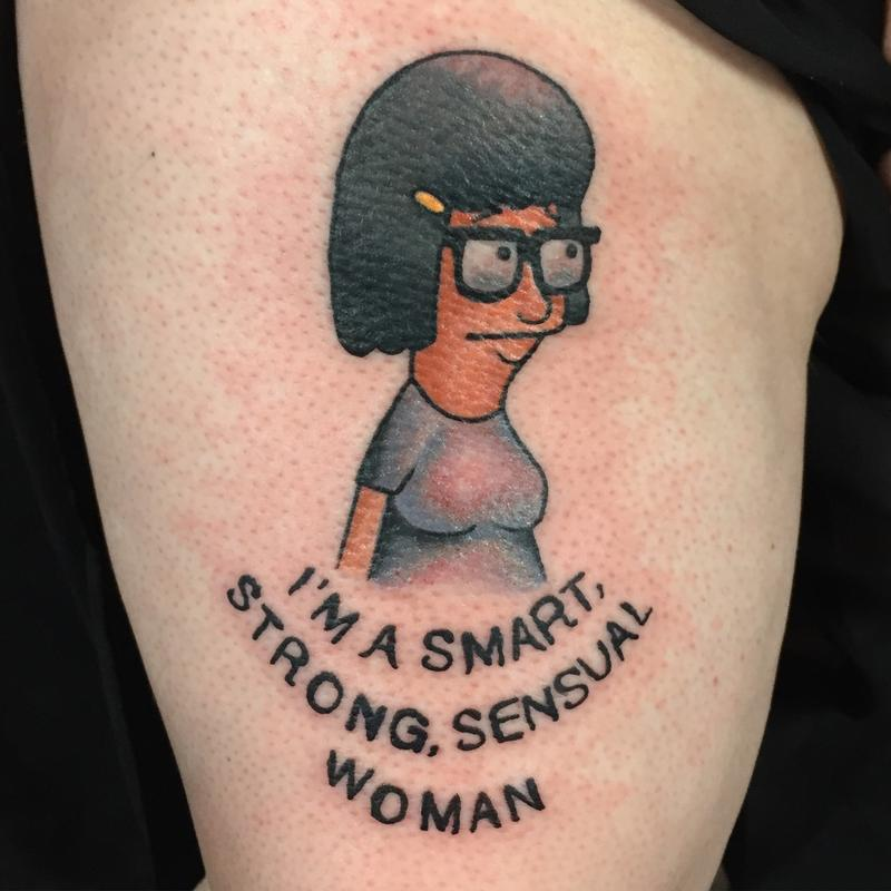 Super fun tina from bob 39 s burgers traditional tattoo by for Texas bobs tattoos
