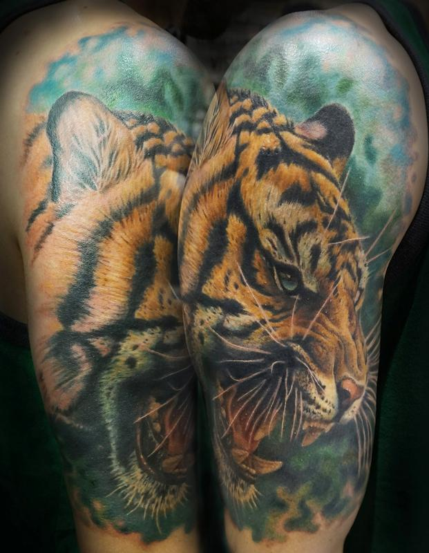 Tiger by tyler andrews tattoos for Tattoo shops in idaho