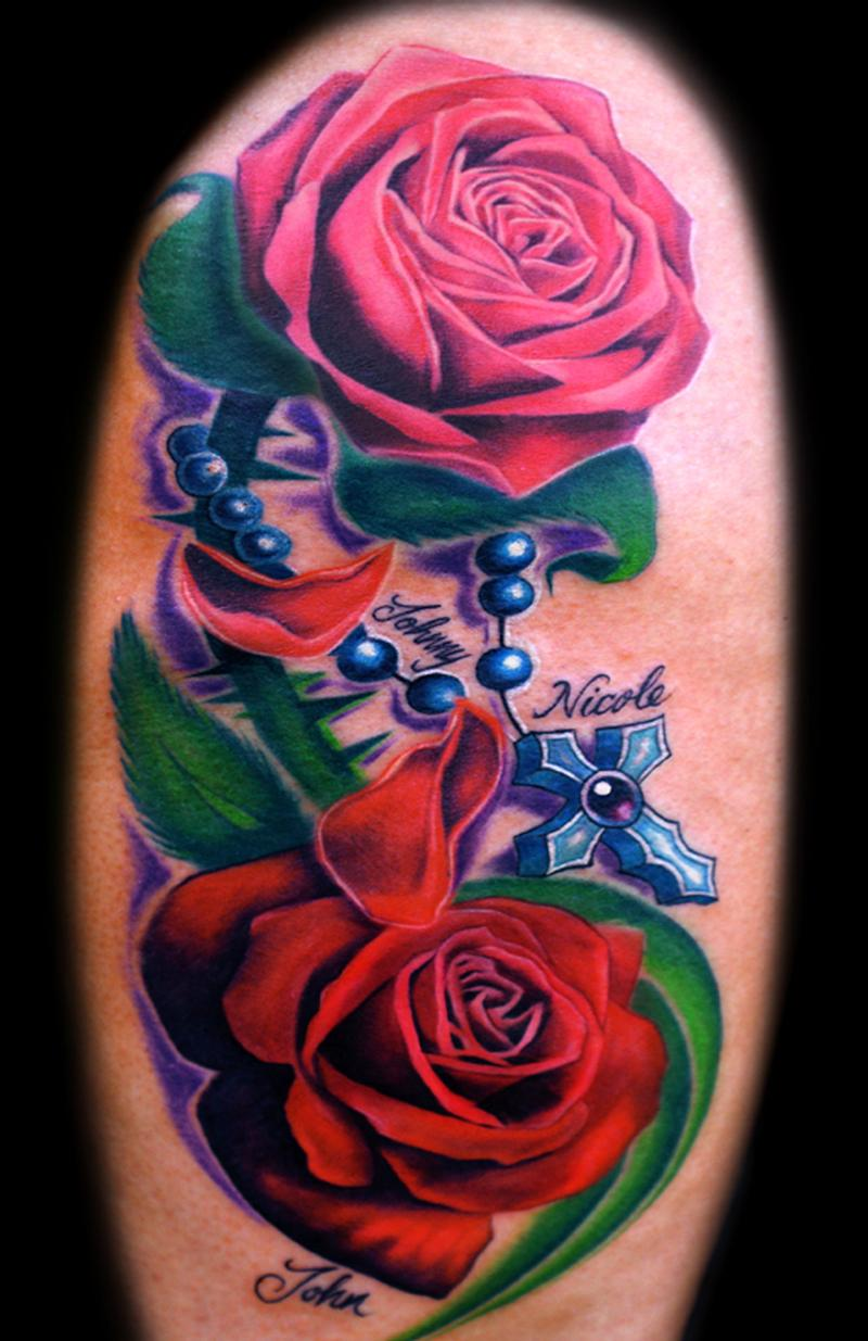 roses and rosary tattoos