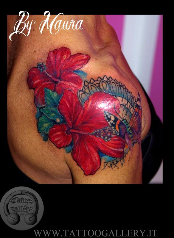 Tattoo Fiori Dhibiscus Con Farfalla Hibiscus Flowers And Butterfly
