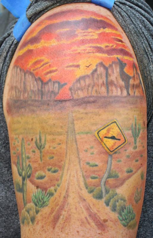 Mn austrailian landscape by david dettloff tattoonow for Ink lab tattoo