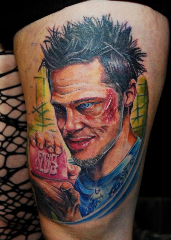 Tyler durden fight club by justin buduo tattoonow for Tattoo shops tyler tx