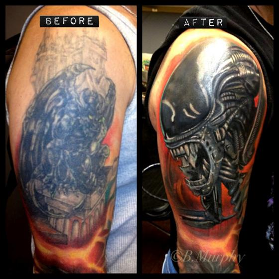 Cover up over large black tattoo by brian murphy tattoonow for Dark tattoo cover up
