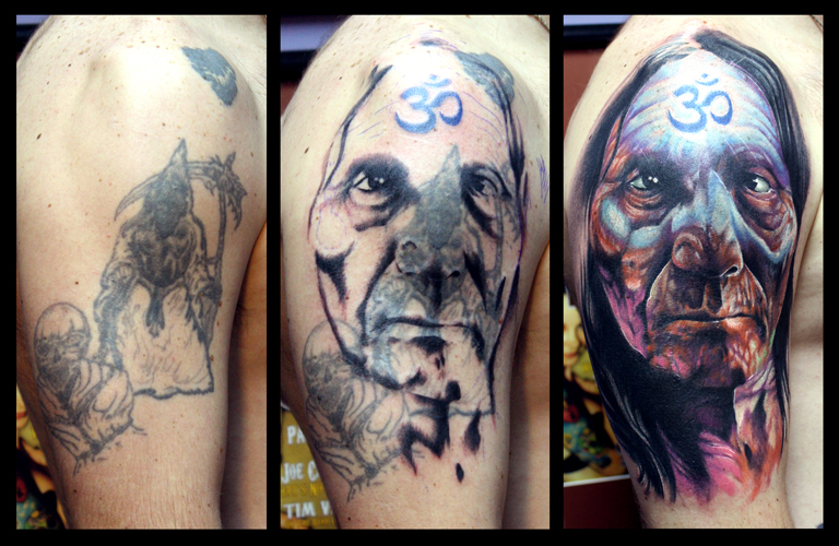Native american chief cover up by tim pangburn tattoonow for Art machine productions tattoo