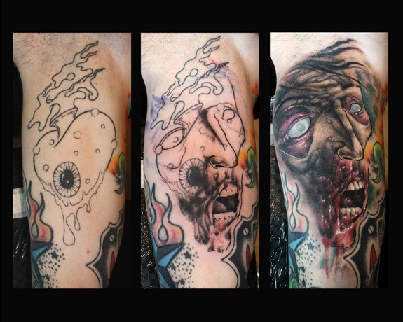 Another zombie cover up by tim pangburn tattoonow for Zombie tattoo machine