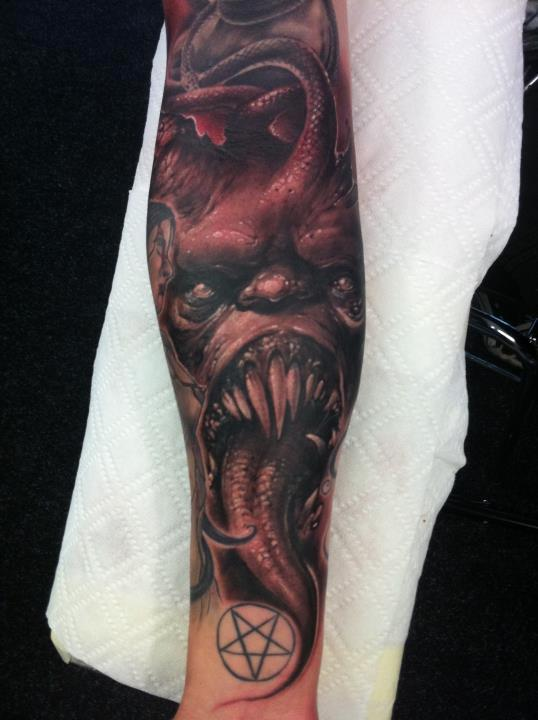 evil forearm half sleeve tattoo by tommy lee wendtner tattoonow. Black Bedroom Furniture Sets. Home Design Ideas