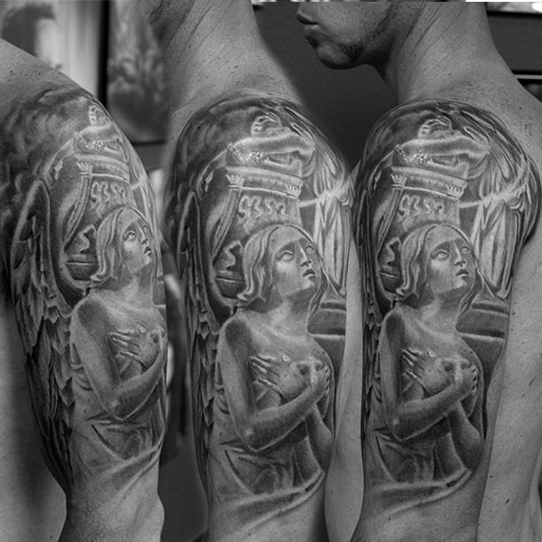 Neck tattoos for men mens neck tattoo ideas - Religious Collage Black And Grey Commemorative Tattoo
