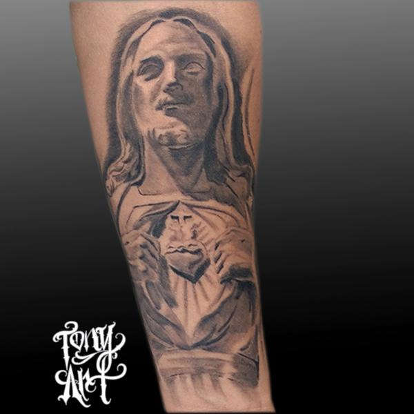 Jesus sculpture black and grey sacred heart by tony for Tattoos of black jesus