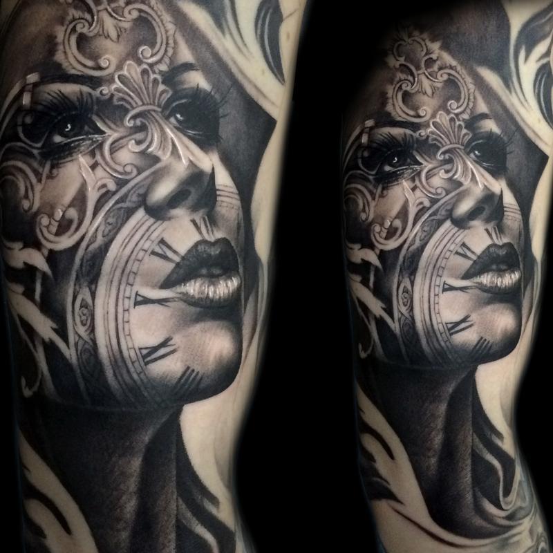 clockface by tony mancia tattoonow. Black Bedroom Furniture Sets. Home Design Ideas
