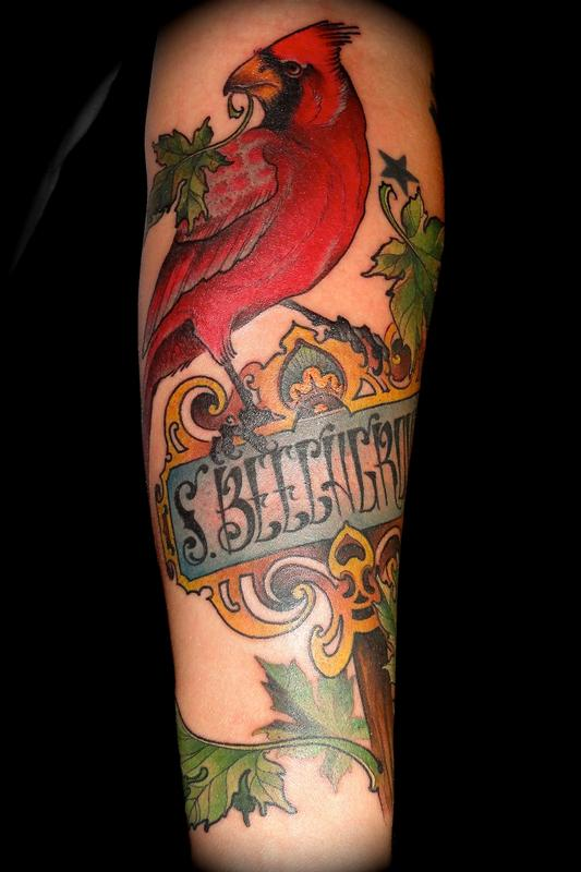 Maple cardinal by ben merrell tattoos for Tribal rites tattoo piercing fort collins co