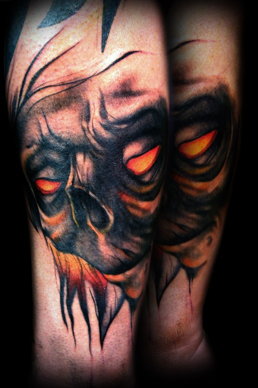 Tormented demon tattoo by kelly doty tattoonow for Evil faces tattoos