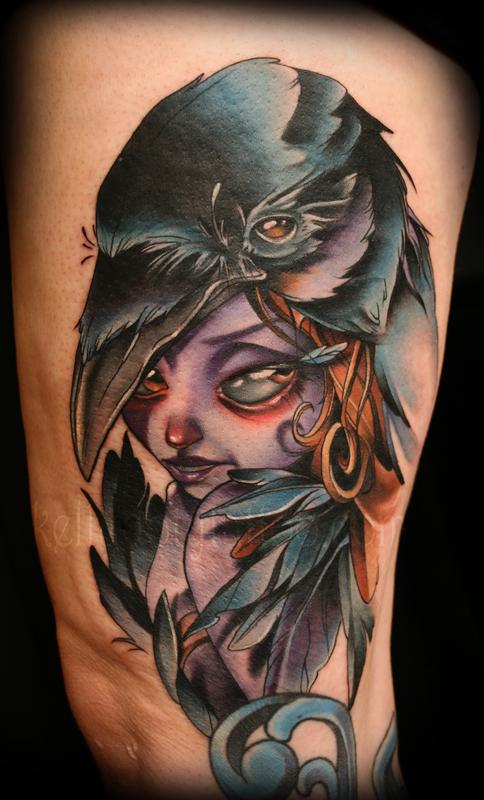 Paradise artist retreat tattoos kelly doty crow lady for Ravens face tattoos