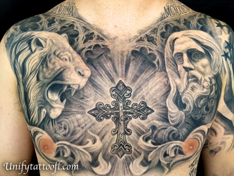 Black And Gray Chest Tattoo By Pepper : Tattoos