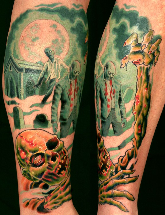 Dante 39 s classic zombie movie leg piece by canman tattoonow for Dante s inferno tattoo