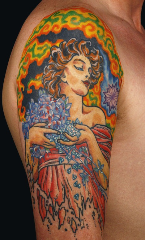 Alfons Mucha inspired half sleeve by Canman: TattooNOW