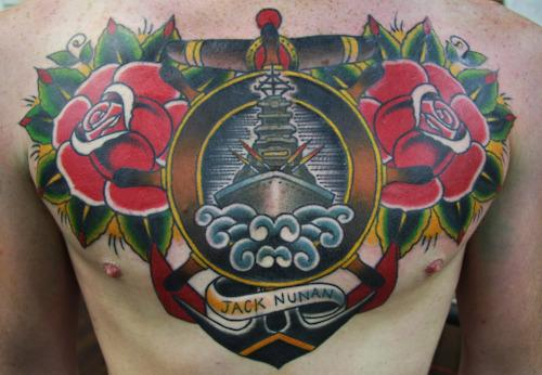 Traditional Ship and Roses Chest piece Tattoo by Ben Rorke ...