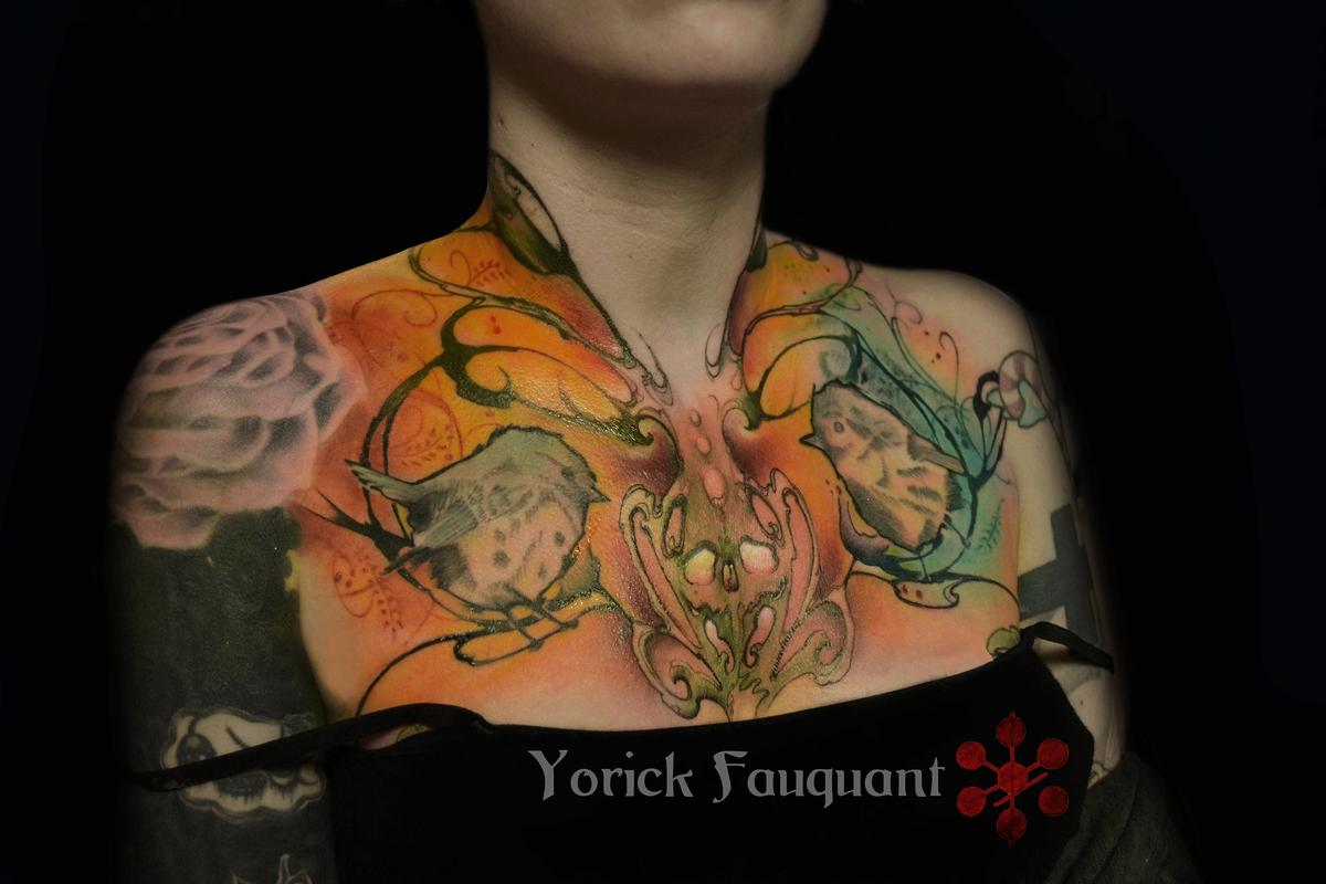 Bright chest and neck tattoo by yorick fauquant tattoonow for Chest and neck tattoos