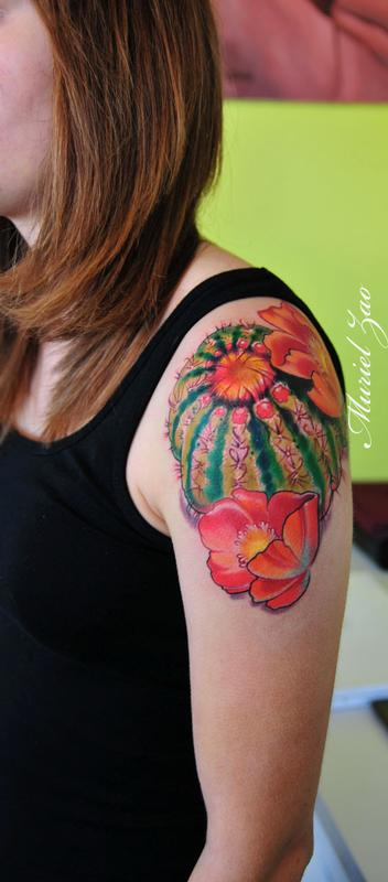 barrel cactus tattoo by muriel zao tattoonow. Black Bedroom Furniture Sets. Home Design Ideas