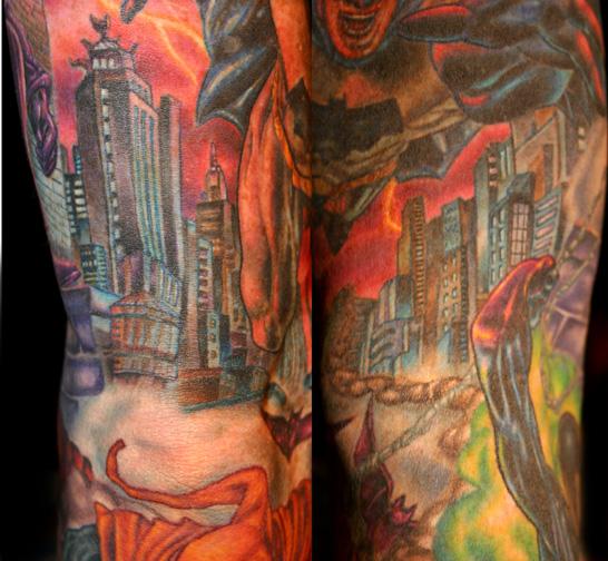 Gotham City Tattoo Sleeve Comic Sleeve Gotham City