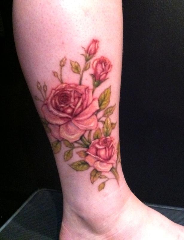 PowerLine Tattoo  Tattoos Flower Rose Roses Ankle