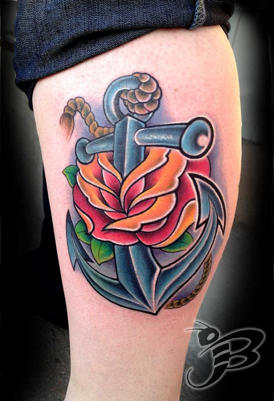 Powerline tattoo tattoos flower rose full color for Anchor rose tattoo