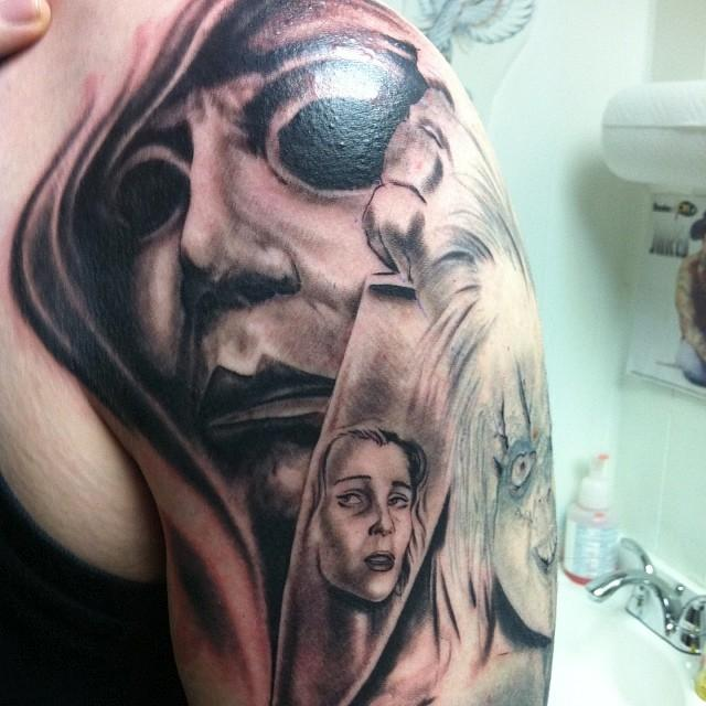 Powerline tattoo tattoos larry digiusto halloween for Michael myers tattoo