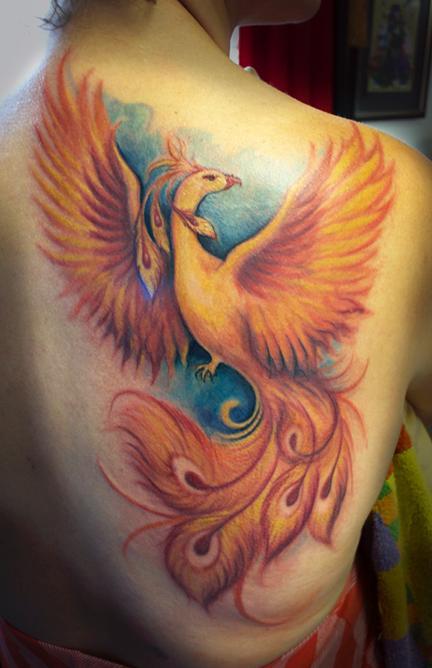 Powerline tattoo tattoos jessica brennan pheonix for Phoenix tattoo on back